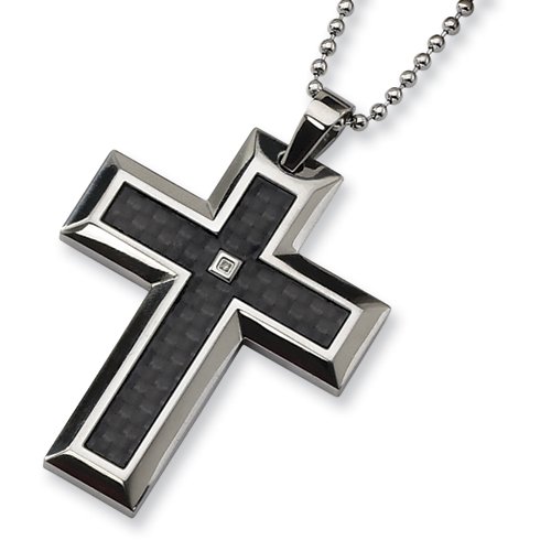 Stainless Steel Carbon Fiber Diamond Accent Cross Necklace