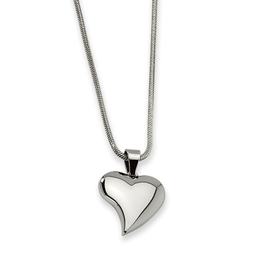 Polished Stainless Steel Heart Pendant Necklace