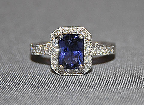 BEAUTIFUL IOLITE AND DIAMOND RING (SORRY SOLD)